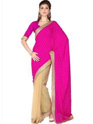 Designersareez Viscose Jaquard & Net Embroidered Saree - Pink & Beige