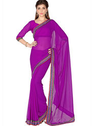Designersareez Faux Georgette Embroidered Saree - Violet - 1805