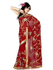 Designer Sareez Embroidered Faux Georgette Saree - Red-480