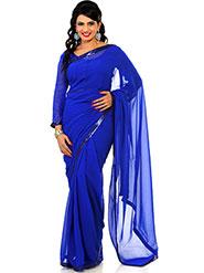 Designer Sareez Plain Faux Georgette Saree - Blue-1446