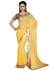 Designer Sareez Faux Georgette Embroidered Saree - Yellow - 1626