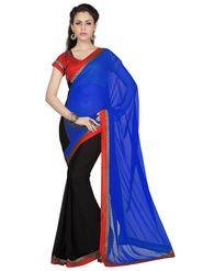 Designer Sareez Faux Georgette Embroidered Saree - Blue & Black - 1688