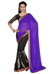 Designer Sareez Faux Georgette Embroidered Saree - Purple & Black - 1696