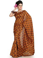 Designer Sareez Printed Bhagalpuri Silk Saree - Deep Mustard