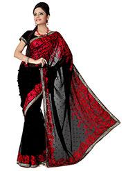 Designer Sareez Embroidered Faux Georgette Saree - Black & Red