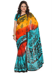 Florence Faux Georgette  Printed  Sarees FL-3185-C