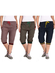 Combo of 3 Comfort Fit Cotton Capris for Women_pf10