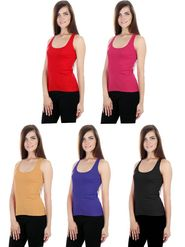 Pack of 5 Fizzaro Solid Hosiery Tank Tops -fzt06