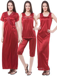Pack of 4 Fasense Satin Plain Nightwear - DP117 C