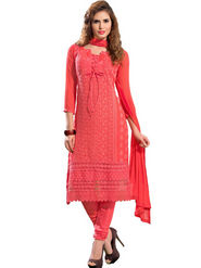 Florence Chiffon Embroidered Dress Material - Pink - SB-2102