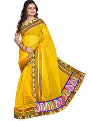 Florence Tissue Embriodered Saree - Yellow - FL-10057-JAN
