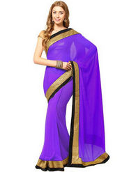 Florence Chiffon Embriodered Saree - Purple - FL-10227