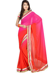 Florence Chiffon Embriodered Saree - Pink - FL-10261