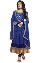 Florence Georgette  Embroidered Dress Material - Blue - SB-1735