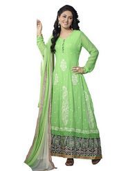 Florence Georgette  Embroidered Dress Material - Green - SB-1738