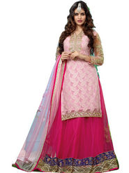 Florence Georgette  Embroidered Dress Material - Pink - SB-1746