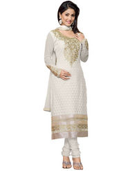 Florence Georgette  Embroidered Dress Material - White - SB-1810