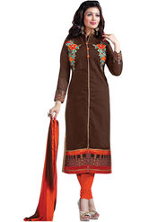 Florence Cotton Embroidered Dress Material - Brown - SB-2818