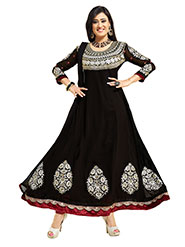 Florence Embroidered Pure Georgette Anarkali Semi-Stitched Dress Material - Black-SB-1322