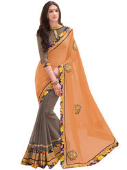 Indian Women Embroidered Satin Chiffon & Georgette Saree -Ga20215