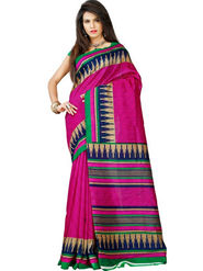 Inddus Bhagalpuri Silk Printed Saree - Pink - IND-BC-12008-B