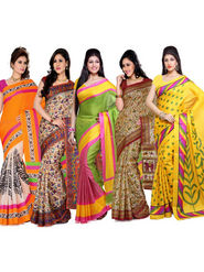 Combo Of 5 ISHIN Bhagalpuri Silk Printed Saree