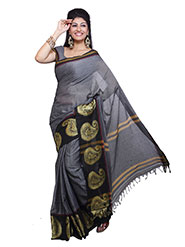 Ishin Printed Cotton Saree - Grey