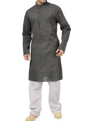 Ishin Cotton Plain Kurta Payjama For Men_indsh-103 - Grey