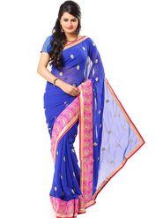 Ishin Georgette Embroidered Saree - Blue - ISHIN-2373