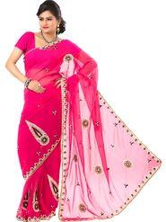 Ishin Georgette Embroidered Saree - Pink - ISHIN-2384