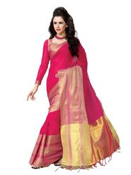 Ishin Cotton Solid Saree - Red-MFCS-Vivian