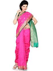 Ishin Poly Silk Printed Nauvari Saree - Pink - SNGM-1876