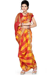 Ishin Cotton Printed Nauvari Saree - Multicolor - SNGM-1882