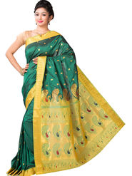 Ishin Cotton Printed Saree - Green - SNGM-2440