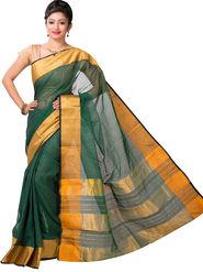 Ishin Cotton Printed Saree - Green - SNGM-2444
