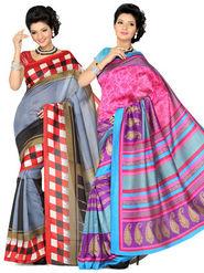 Combo of 2 Ishin Art Silk Printed Saree - Combo-396