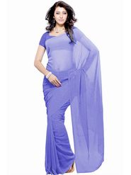 Khushali Fashion Georgette Plain Saree(Light Purple)_JAZZ508