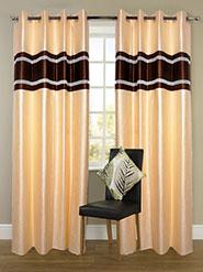 Set of 2 JBG Luxury Diamond Lace Design Door Curtains - Cream & Brown- JBG406