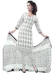 Javuli Printed Cotton Dress Material - White