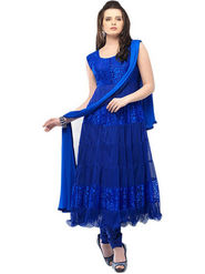 Javuli Georgette Embroidered  Dress Material - Blue - netplus-blue