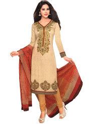 Javuli 100% pure Cotton Printed  Dress material - Beige - shree-new213