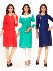 Combo of 3 Regalia Ethnic  Plain Cotton Semi Stitched Kurti  -Kre133