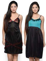 Set of 2 Klamotten Satin Solid Nightwear - X01-31