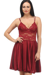 Klamotten Satin Solid Nightwear - Red - YY07