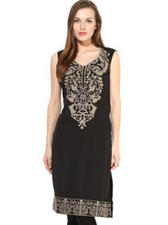 Kyla F Cotton Embroidered Kurti - Black - KYL590