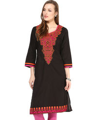 Kyla F Cotton Embroidered Kurti - Black - KYL594