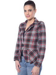 Lavennder Red Check Khadi Full Sleeve Women Jacket - LJ-24037