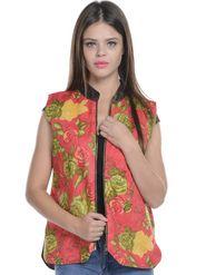Lavennder Cotton Quilt Printed Jacket - Red - LW-3936