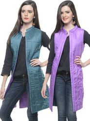 Lavennder Silk Quilt Reversible Jacket - Green and Purple