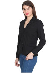 Levis Solid Cotton Black Blazer -os07